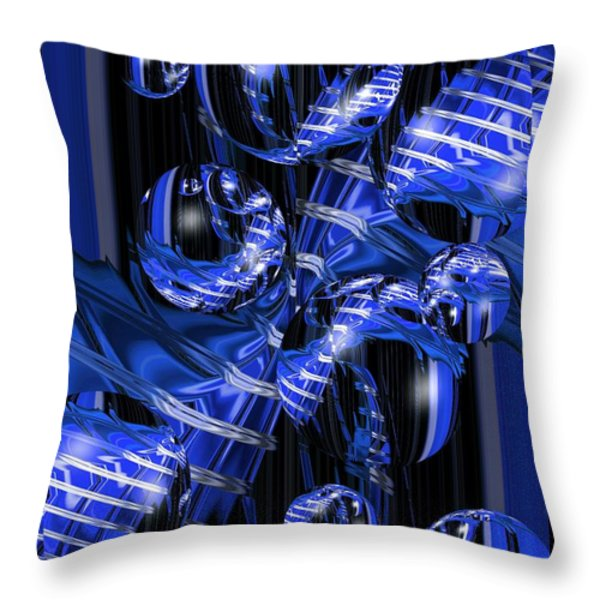 Abstract Blue Vortex With Bubbles Throw Pillow by Darrell Arnold