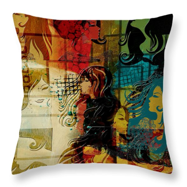 Abstract Collage 01 Throw Pillow by Corporate Art Task Force