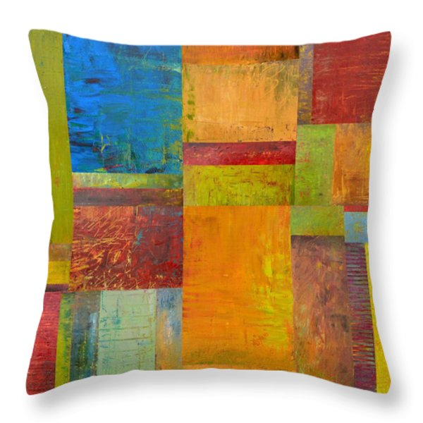Abstract Color Study Collage ll Throw Pillow by Michelle Calkins