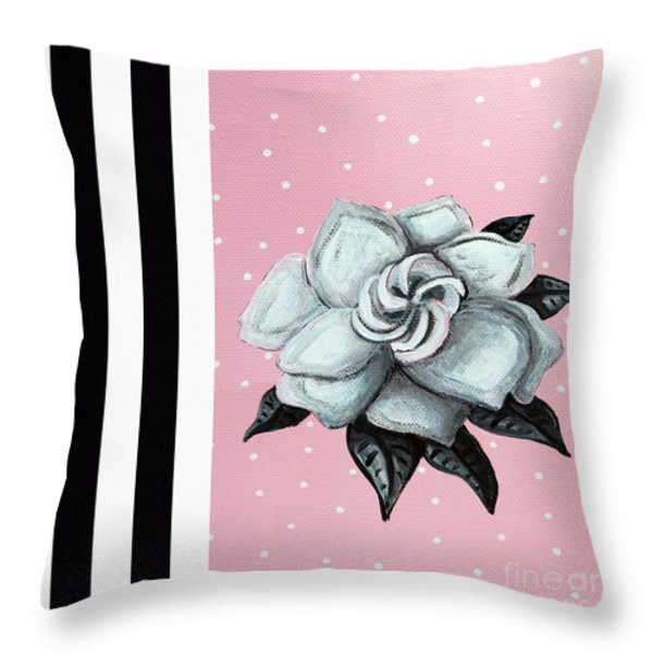 Abstract Contemporary Whimsical Pink Painting Gardenia Flower By Madart Throw Pillow by Megan Duncanson