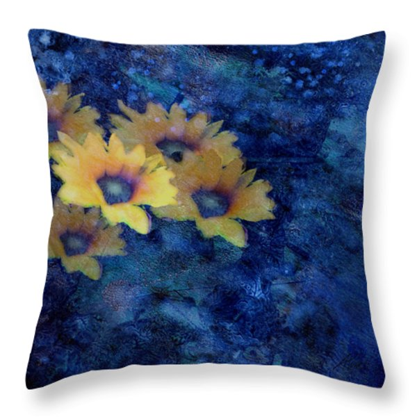 Abstract Daisies on Blue Throw Pillow by Ann Powell
