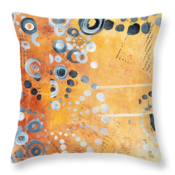 Abstract Decorative Art Original Circles Trendy Painting by MADART Studios Throw Pillow by Megan Duncanson