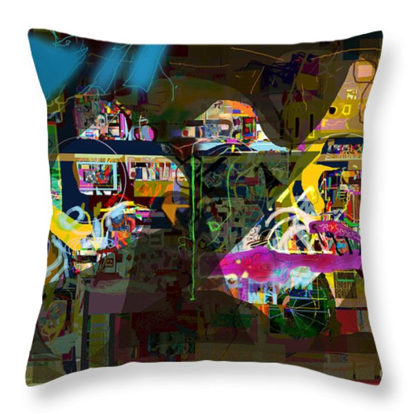 abstract drawings 7b tefilla without cavona h Throw Pillow by David Baruch Wolk