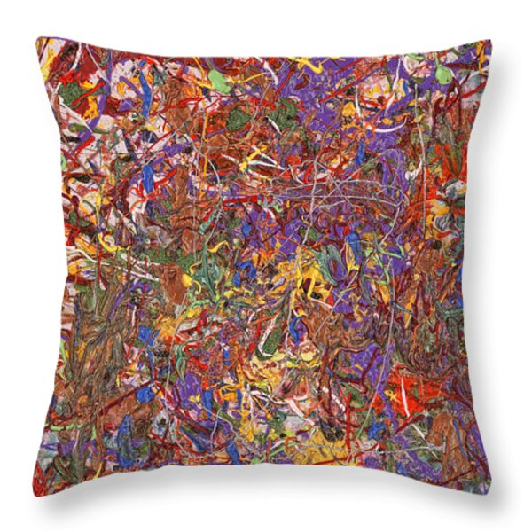 Abstract - Fabric Paint - String Theory Throw Pillow by Mike Savad