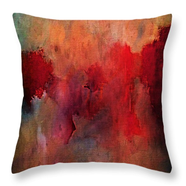 Abstract Flames Throw Pillow by M and L Creations
