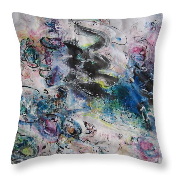 Abstract Flower Field Painting Blue Pink Green Purple Black Landscape Painting Modern Acrylic Pastel Throw Pillow by Seon-Jeong Kim
