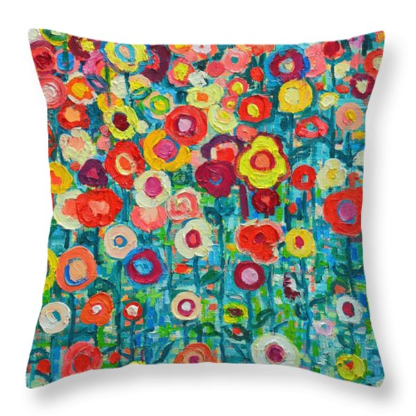 ABSTRACT GARDEN OF HAPPINESS Throw Pillow by ANA MARIA EDULESCU