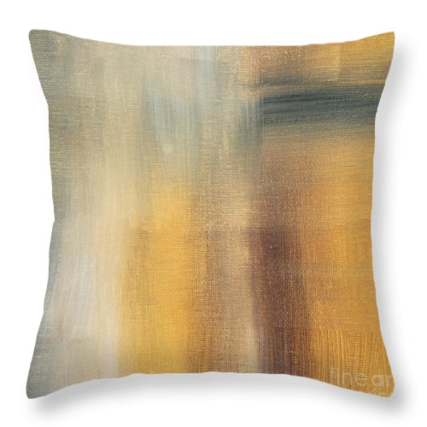 Abstract Golden Yellow Gray Contemporary Trendy Painting Fluid Gold Abstract II By Madart Studios Throw Pillow by Megan Duncanson