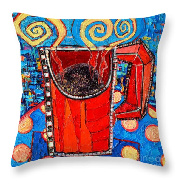 Abstract Hot Coffee In Red Mug Throw Pillow by Ana Maria Edulescu