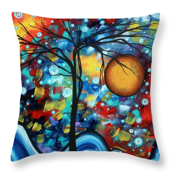 Abstract Landscap Art Original Circle Of Life Painting Sweet Serenity By Madart Throw Pillow by Megan Duncanson