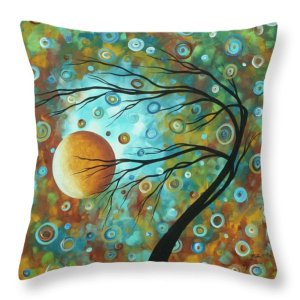 Abstract Landscape Circles Art Colorful Oversized Original Painting Pin Wheels In The Sky By Madart Throw Pillow by Megan Duncanson