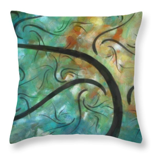 Abstract Landscape Painting Digital Texture Art by Megan Duncanson Throw Pillow by Megan Duncanson