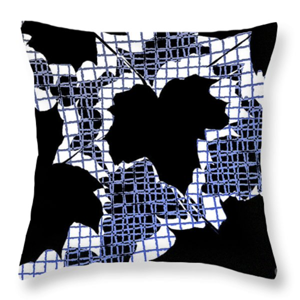 Abstract Leaf Pattern - Black White Blue Throw Pillow by Natalie Kinnear