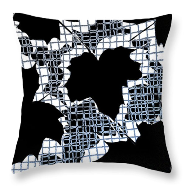 Abstract Leaf Pattern - Black White Light Blue Throw Pillow by Natalie Kinnear