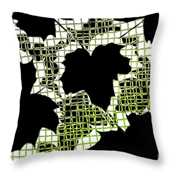 Abstract Leaf Pattern - Black White Lime Green Throw Pillow by Natalie Kinnear