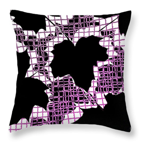 Abstract Leaf Pattern - Black White Pink Throw Pillow by Natalie Kinnear