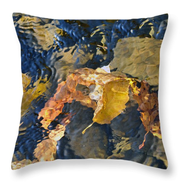Abstract Leaves In Water Throw Pillow by Dan Friend
