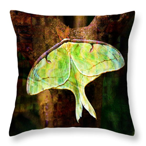 Abstract Luna Moth Painterly Throw Pillow by Andee Design