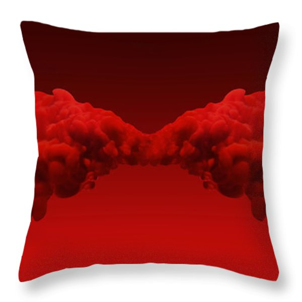 Abstract Merging Red Inks Throw Pillow by Allan Swart