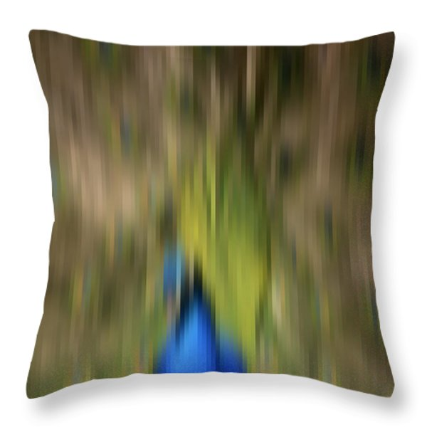 Abstract Moving Peacock  Throw Pillow by Georgeta Blanaru
