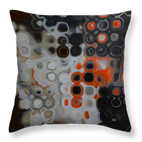 Abstract Orange Digital Print Throw Pillow by Andrada Anghel