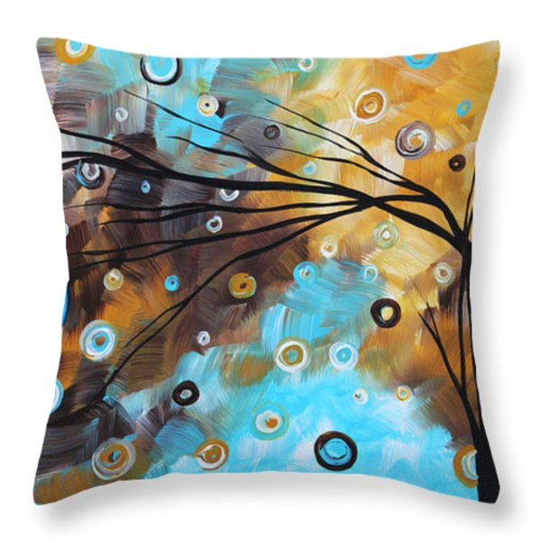 Abstract Painting Chocolate Brown Whimsical Landscape Art BABY BLUES by MADART Throw Pillow by Megan Duncanson