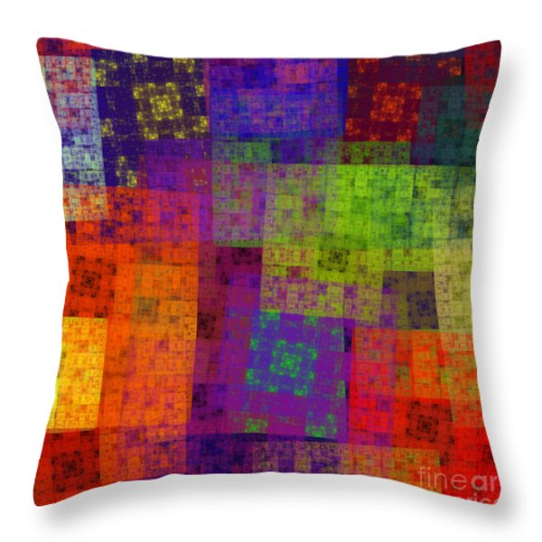 Abstract - Rainbow Bliss - Fractal - Square Throw Pillow by Andee Design