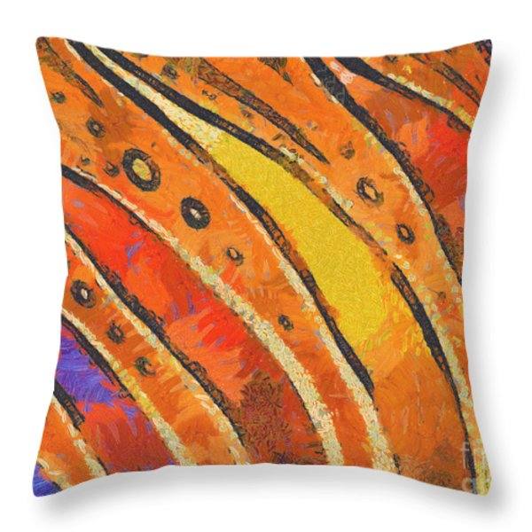 Abstract Rainbow Tiger Stripes Throw Pillow by Pixel Chimp