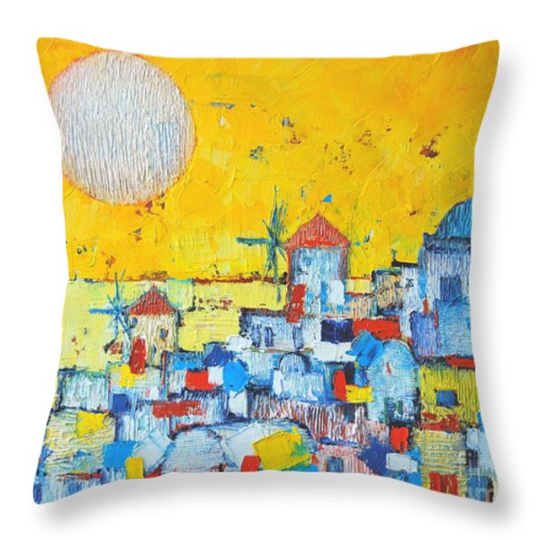 ABSTRACT SANTORINI - OIA BEFORE SUNSET Throw Pillow by ANA MARIA EDULESCU