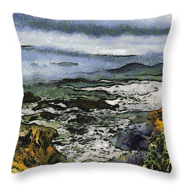 Abstract Seascape Morro Bay California Throw Pillow by Barbara Snyder