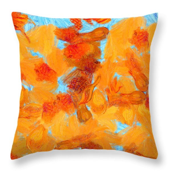 Abstract summer Throw Pillow by Pixel Chimp