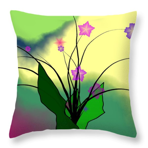 Abstract Violets Throw Pillow by GuoJun Pan