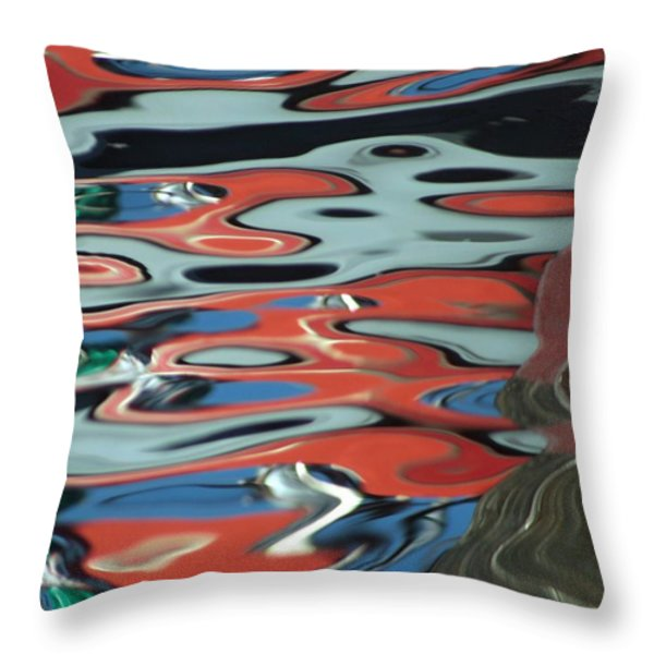 Abstract Water Reflection 67 Throw Pillow by Andrew  Hewett