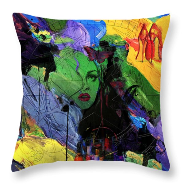 Abstract Women 014 Throw Pillow by Corporate Art Task Force