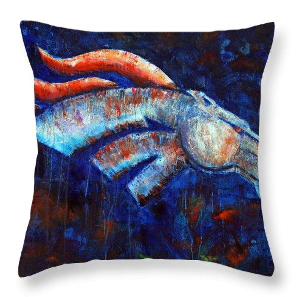 Abstracted Bronco Throw Pillow by Jennifer Morrison Godshalk
