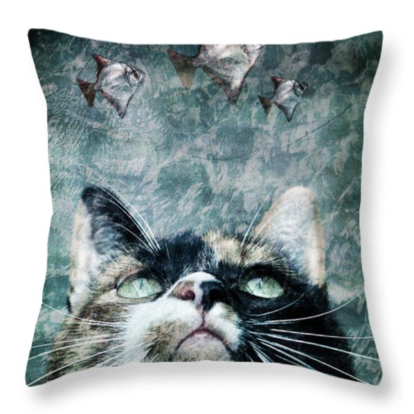 Abyss Cat Nr 2 Throw Pillow by Laura Melis