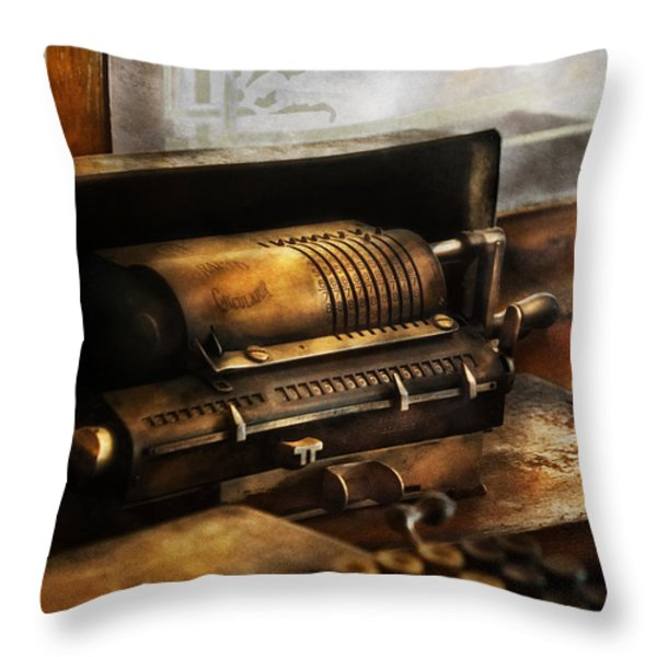 Accountant - The Adding Machine Throw Pillow by Mike Savad
