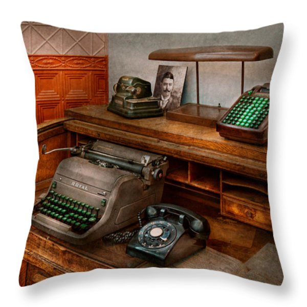 Accountant - Typewriter - The accountants office Throw Pillow by Mike Savad