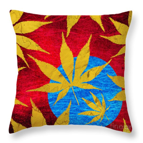 Acer leaves blue Throw Pillow by Tim Gainey