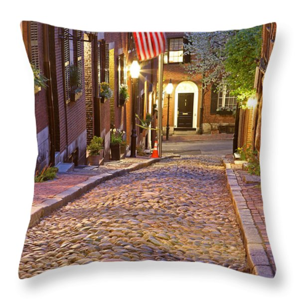 Acorn Street Of Beacon Hill Throw Pillow by Juergen Roth