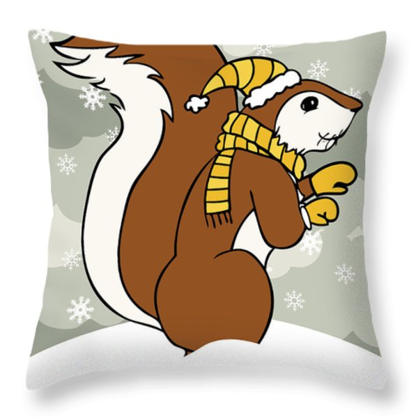 Acorn Winter Throw Pillow by Christy Beckwith