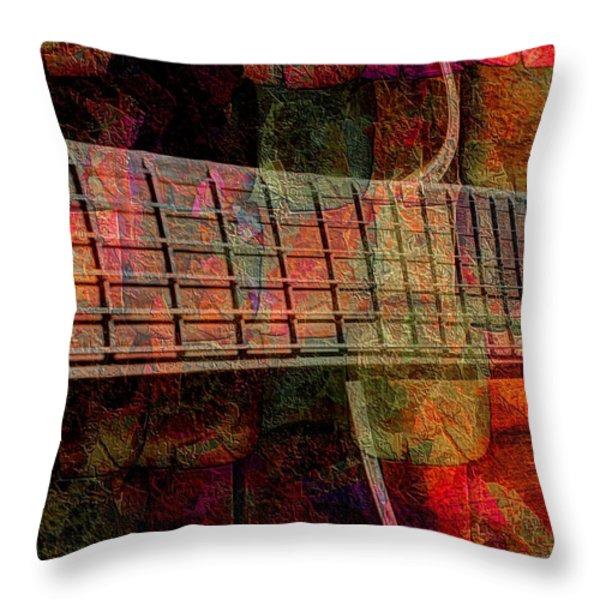 Acoustic Palette Digital Guitar Art by Steven Langston Throw Pillow by Steven Lebron Langston