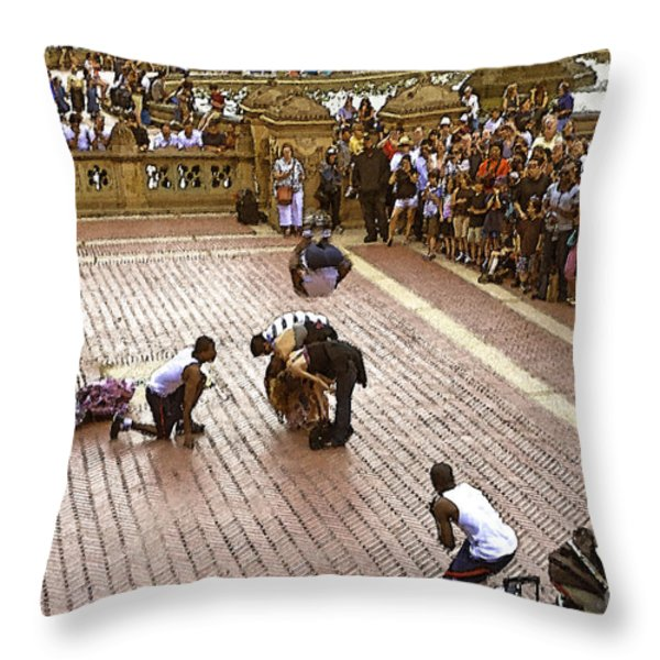 Acrobatics In The Park Throw Pillow by Madeline Ellis