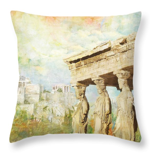 Acropolis of Athens Throw Pillow by Catf