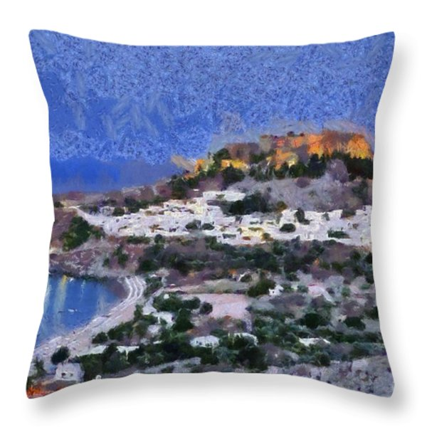 Acropolis village and beach of Lindos Throw Pillow by George Atsametakis