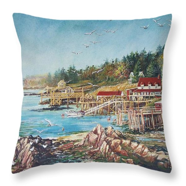 Across The Bridge Throw Pillow by Joy Nichols