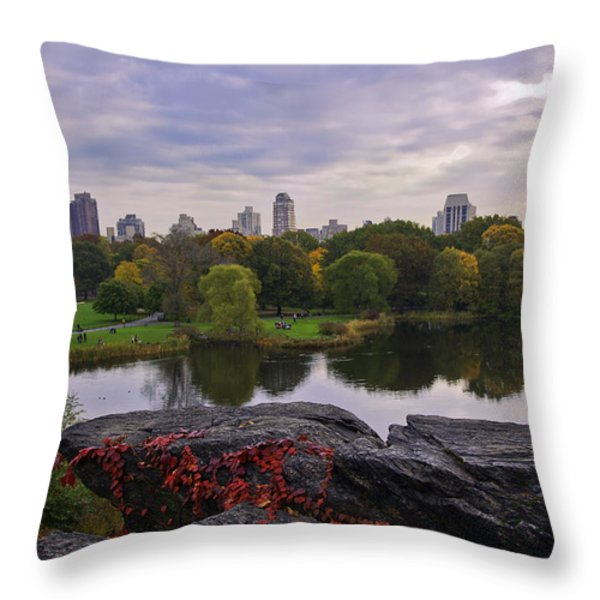 Across The Pond 2 - Central Park - Nyc Throw Pillow by Madeline Ellis