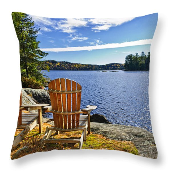 adirondack chairs at lake shore throw pillow by elena elisseeva
