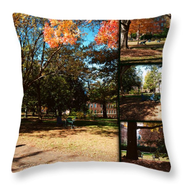 Adirondack Chairs Collage2 Throw Pillow by Paulette B Wright