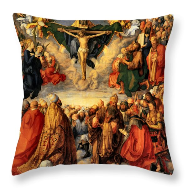 Adoration Of The Trinity Throw Pillow by Albrecht Durer